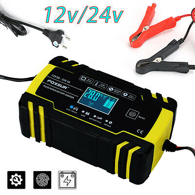 12V/24V Automatic Intelligent Car Battery Charger Pulse Repair Starter UK