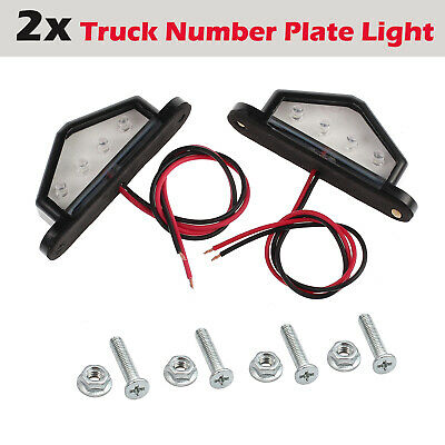PAIR NUMBER PLATE LED LIGHT Trailer TRUCK BOAT CARAVAN AUTO CAR 10-30V 4LEDS
