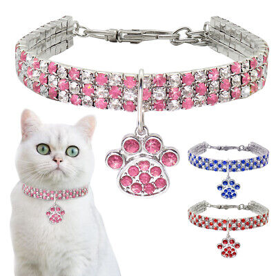 Rhinestone Cat Dog Collar Puppy Small Dogs Cats Collars Pet Pendant Necklace US