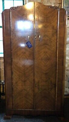 1920s Gentleman's Wardrobe In Walnut Veneer