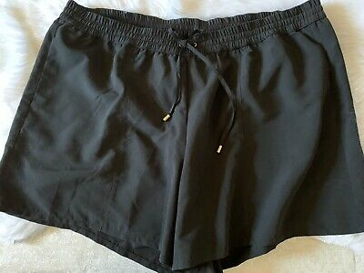Solid Black Swim Board Short By Cacique Lane Bryant With Attached Brief Sz 14//16