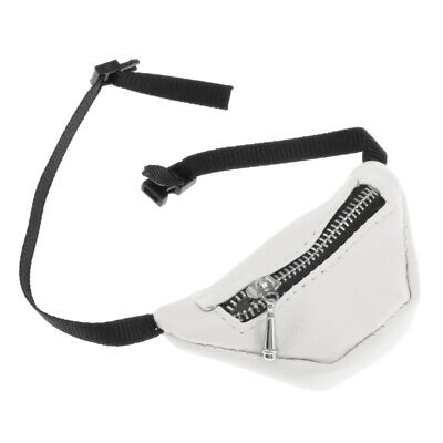 Stylish 1/3 BJD Dolls Accessory PU Leather Zipper Fanny Pack Waist Bag White