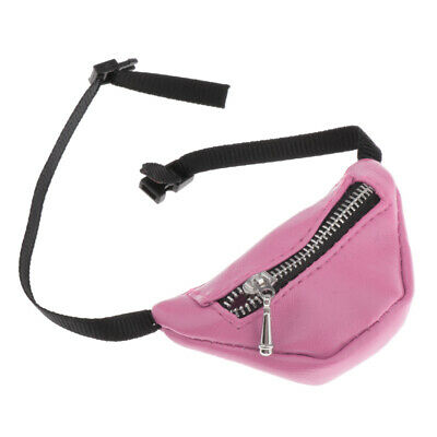 Stylish 1/3 BJD Dolls Accessory PU Leather Zipper Fanny Pack Waist Bag Pink