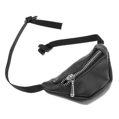 Stylish 1/3 BJD Dolls Accessory PU Leather Zipper Fanny Pack Waist Bag Black