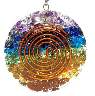 Orgone 7 Chakra Pendant EMF Protection Copper Coil Reiki Healing Cord Necklace