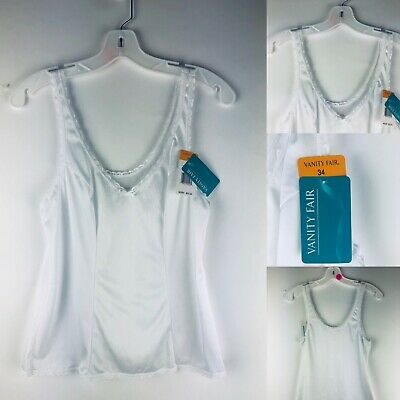 Vanity Fair Camisole Slip Top NEW VINTAGE Size 34 White Lace Vtg 80s NOS Silky