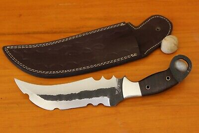 Custom Hand Made Damascus steel Hunting karambit Knife With Rose Wood Handle.