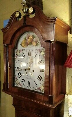 Antique grandfather clock by J Barber of Nottingham, 8 day, Flame mahogany case