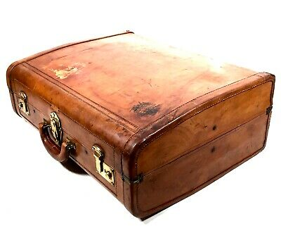 Antique Brown Tan Leather Gentleman's Travel Bag / Suitcase /  High Quality