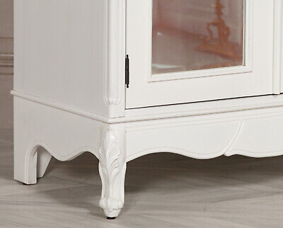 French White Carved Double Mirrored Doors Armoire
