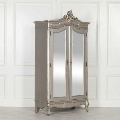 French Style Silver Carved Mirrored Door Armoire