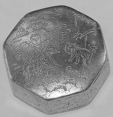 Antique Silver Inkwell Asian Chinese Naive Engraving Hexagonal 19th Century