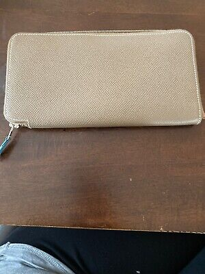 Authentic HERMES Vintage Azap Silk In Zipped Long Wallet Purse Taupe