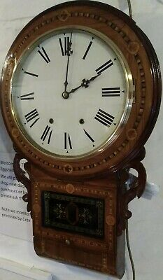 Antique wall clock, American drop dial, 8 day, strikes on a bell,running a treat
