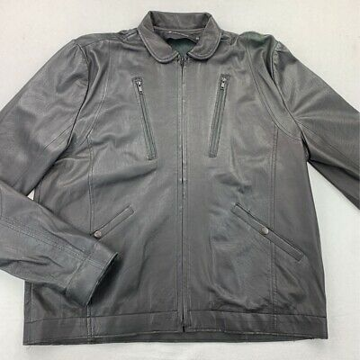 N.I.C.E. Nice Collective Mens Zip Up Jacket Black USA Made 100% Lamb Leather XXL