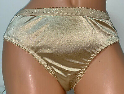 NWOT Vintage Coco Secrets Sissy Gold Shiny Second Skin Nylon Bikini Panties M