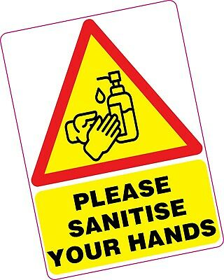 "1x A4 EXTRA LARGE Please Sanitise Your Hands Vinyl Sticker 8""x12"" Shop Office"