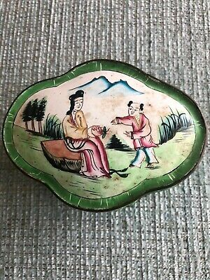 Antique Chinese Cloissone Green Flowers Ladie And Boy Box