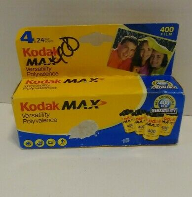 Kodak Max 400 Speed Color Film 4 Rolls x 24 EXP 35 MM Expired 04/2008.  BWS
