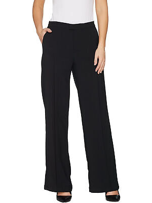 H by HALSTON Size 8 Regular Stretch Suiting Wide Leg Pants BLACK