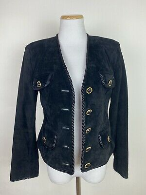 VTG 90s LORD and TAYLOR Black Suede Jacket PETITE 4 / XS Gold Buttons