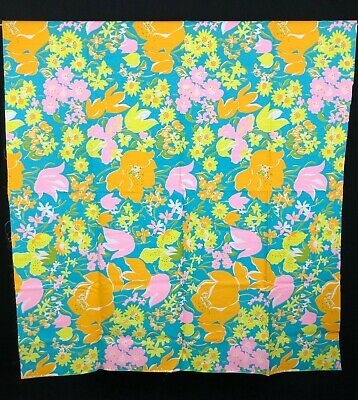Vintage 50s 60s Mid Century Wolf Material Fabric Bright Floral Aqua Pink Print