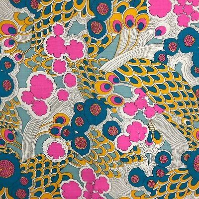 VTG 50s 60s Mid Century Psychedelic Flower Material Fabric Aqua Hot Pink Groovy