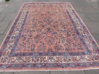Vintage Hand Made Traditional Oriental Wool Faded Pink Large Carpet 316x225cm
