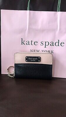 NWT KATE SPADE SMALL ZIP AROUND WALLET LEATHER BLACK&PINK WLRU5582 Shopping Bag
