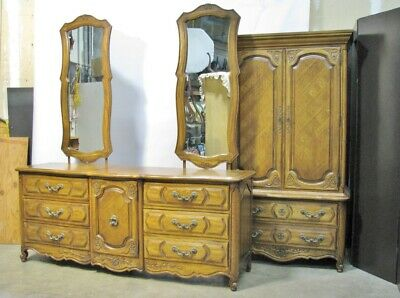 Thomasville French Country Parquet Dresser, Mirrors & Cabinet; Mint 1960's