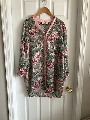 Vintage Victoria's Secret Gold Label Sheer Paisley Floral Night Shirt, Size M/L