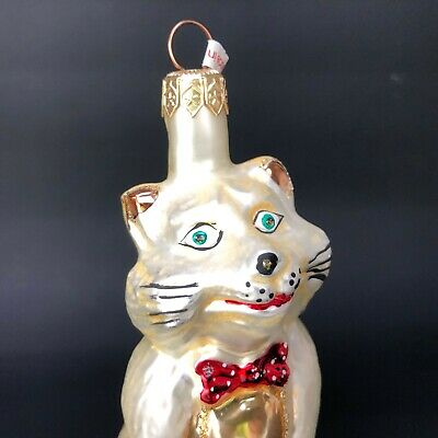 Vintage BEAUTIFUL Blown Glass Cat Ornament Kitty Feline Gold White Red Bow Tie
