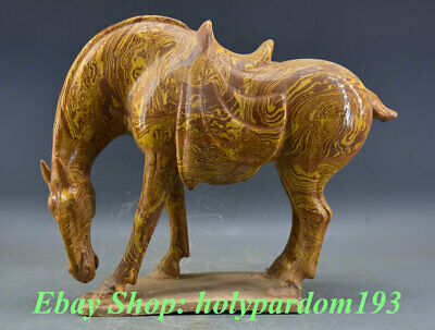 "18"" Old Chinese San Cai Pottery Stand War White Tang Horse Statue Sculpture"