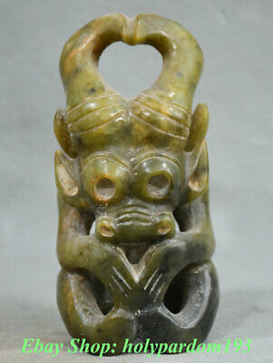 """4"""" Collect Old Chinese Liangzhu Hongshan Jade Carving Helios sun-god Sculpture"""