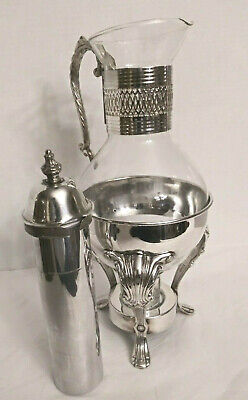 Vintage Silverplate Carafe with Stand /Warmer and Interchangeable Cooling Tube