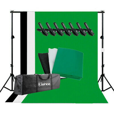 Photo Studio Black White Green Backdrop Chroma Key Screen Background Stand Kit