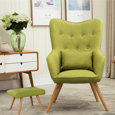 Linen Retro Accent Armchair Tub Chair Living Room Chair Pillow and Foot Stool UK