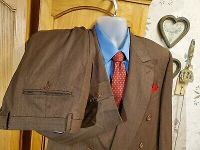Canali Proposta Mens Brown Herringbone 2 pc Suit Double-breasted 42r Pants 36x28
