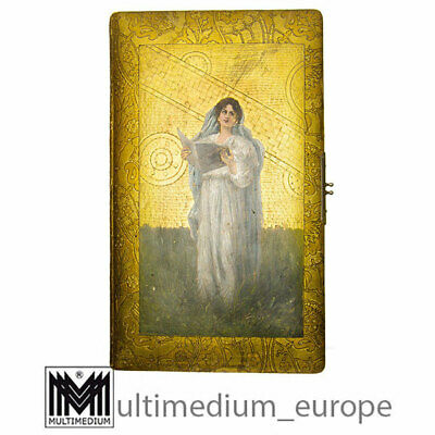 Antikes Jugendstil Photo Album Ölbild auf Leder Malerei Goldprägung 🌺🌺🌺🌺🌺