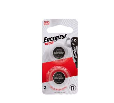 Energizer 1632 - 2 PACK 3V Lithium Coin/Button Cell Batteries  Zero Mercury