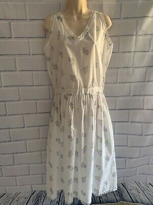 Lands' End M 10-12 Nightgown Sleeveless Cotton Floral Lace Elastic Waist Pockets