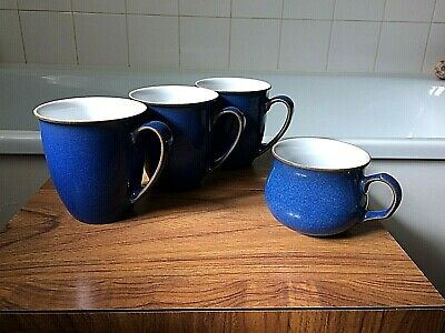 Denby ~ Imperial blue stoneware mugs x 3 & 1 x cup