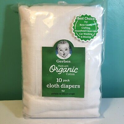 Gerber Baby 10 Pack Organic Cloth Diaper Flat Cotton Birdseye White