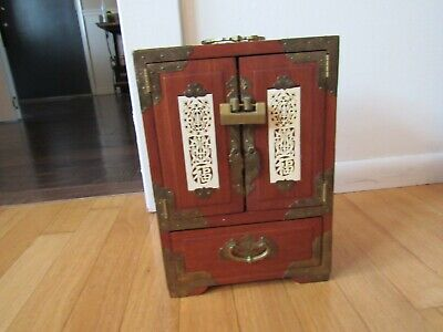 Antique Frank Yuen & Co. Jewelry Box Cabinet Carved Jade&Brass Accent