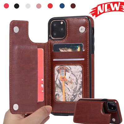 For iPhone 11 Pro Max XS 7 8 Plus 6S XR Card Wallet Leather Flip Stand Back Case