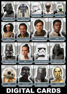 Topps Star Wars Card Trader RISE OF SKYWALKER CHARACTER STICKERS [17 CARD SET]