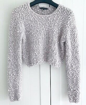 Girls CANDY COUTURE Sparkly Pale Pink Cropped Jumper Age 12-13 Years