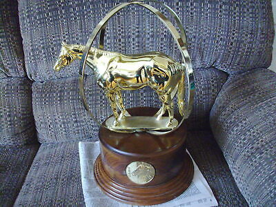 """AQHA World globe gold color trophy, 2003 long tail, 17"""" x 12"""" very nice horse"""