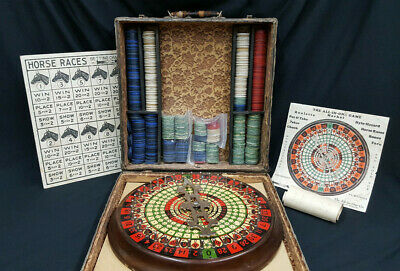 "Vintage ""The All in One""  Portable Roulette Poker Chuck Horse Racing & More Game"