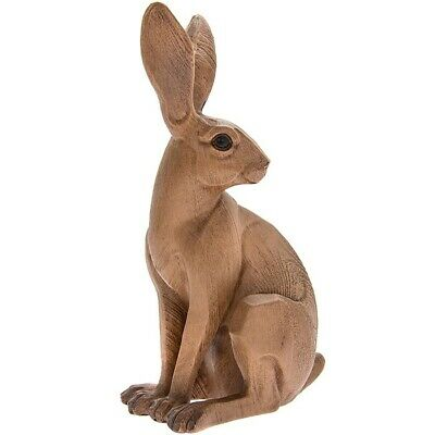 Animal Kingdom Carved Wood Effect Small Hare Sitting Statue Ornament